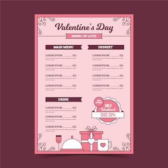 Plantilla de menú de día de san valentín vintage