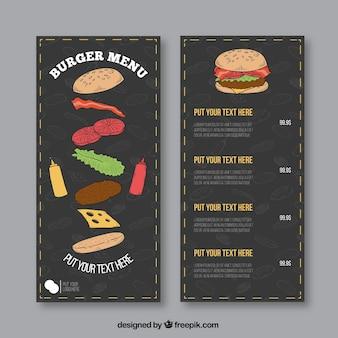 Plantilla de menú dibujado a mano de hamburguesería