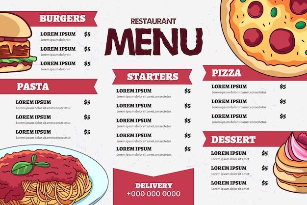 Plantilla de menú digital de comida rápida