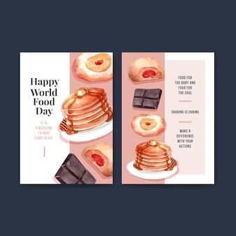 Plantilla de menú con diseño de concepto del día mundial de la alimentación para acuarela de restaurante y tienda de alimentos