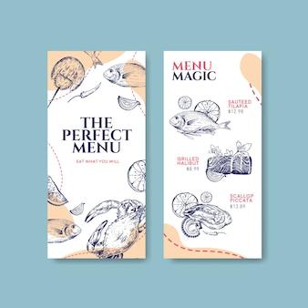 Plantilla de menú con diseño de concepto de mariscos para publicidad y marketing ilustración