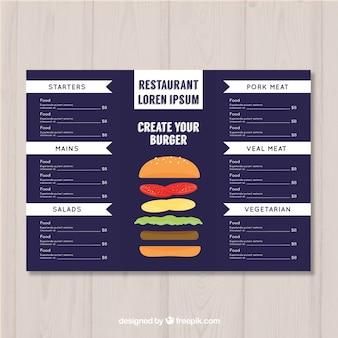 Plantilla de menú en diseño plano