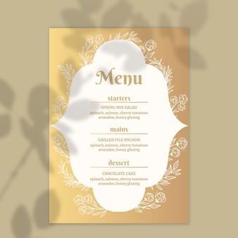 Plantilla de menú dorado para boda