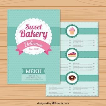 Plantilla de menú de dulces de panadería