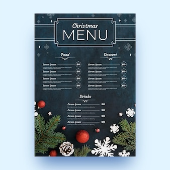 Plantilla de menú festivo navideño
