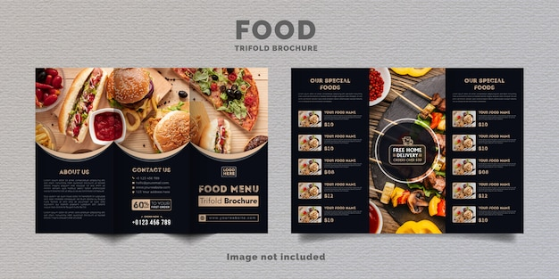 Plantilla de menú de folleto tríptico de alimentos. folleto de menú de comida rápida para restaurante con color azul oscuro.
