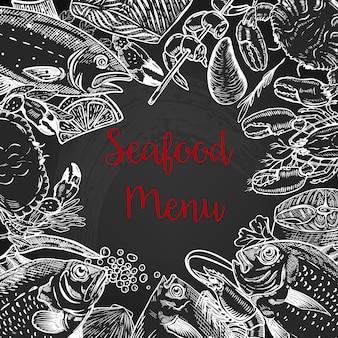 Plantilla de menú fresco de mariscos. pescado, cangrejo, camarones, langosta, especias. ilustración