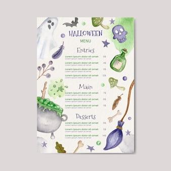 Plantilla de menú de halloween en acuarela