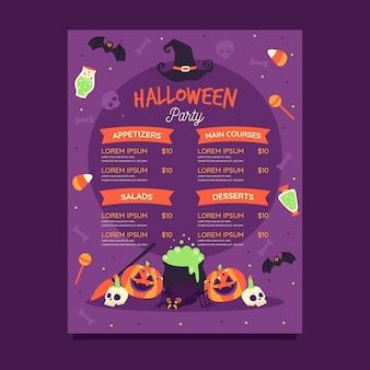 Plantilla de menú de halloween dibujada a mano
