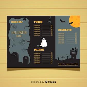 Plantilla de menú de halloween con diseño plano