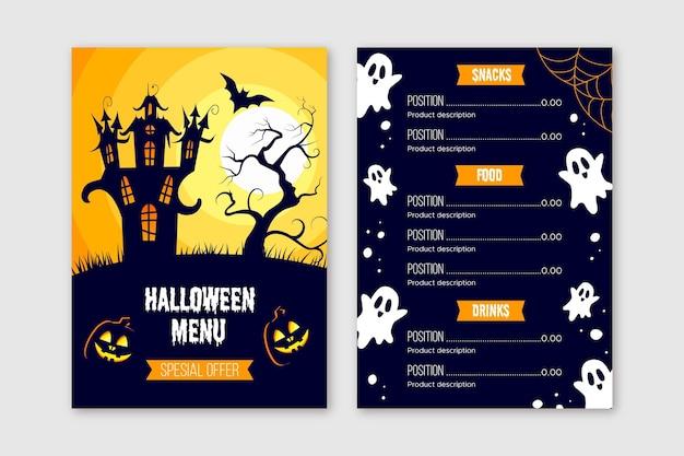 Plantilla de menú de halloween de diseño plano