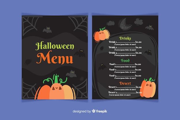 Plantilla de menú de halloween plana con calabaza y telaraña