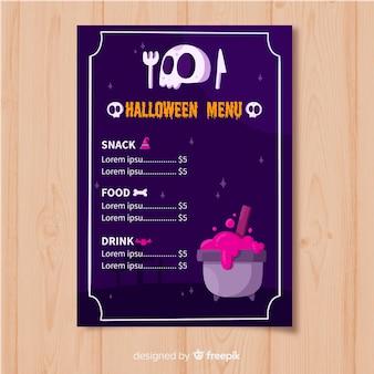 Plantilla de menú de halloween plana con calavera y crisol