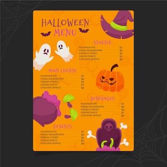 Plantilla de menú de halloween