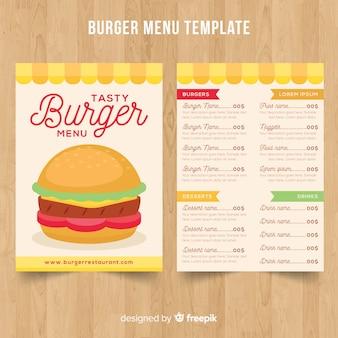 Plantilla de menú de hamburguesa