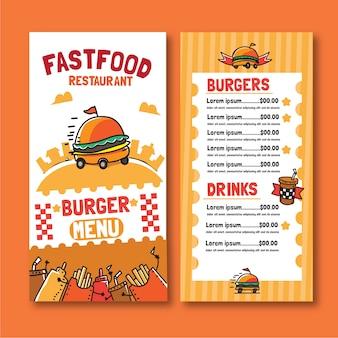 Plantilla de menú de hamburguesas de comida rápida