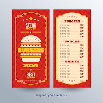 Plantilla de menú de hamburguesas con detalles amarillos