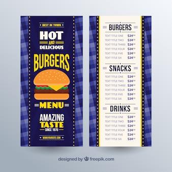 Plantilla de menú de hamburguesas en diseño plano