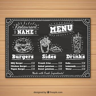 Plantilla de menú de hamburguesas en estilo de tiza