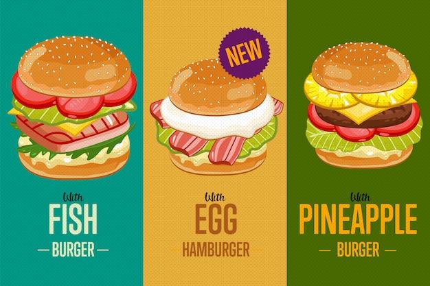 Plantilla de menú de hamburguesas.