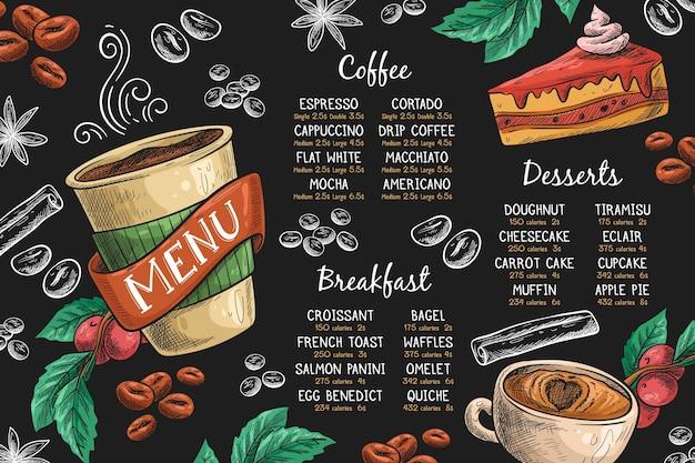 Plantilla de menú horizontal con café y postre.