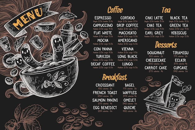 Plantilla de menú horizontal con café