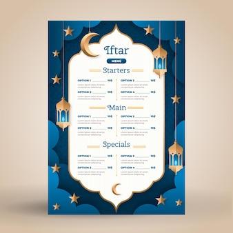 Plantilla de menú iftar en estilo papel