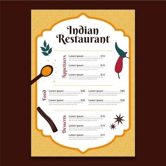 Plantilla de menú indio de diseño plano