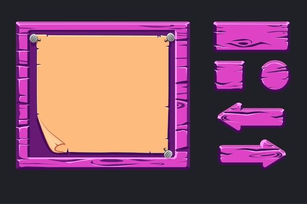 Plantilla de menú de madera violeta de interfaz gráfica de usuario