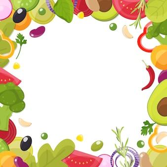 Plantilla de menú con marco de ingredientes en rodajas