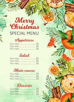Plantilla de menú de navidad en acuarela con elementos