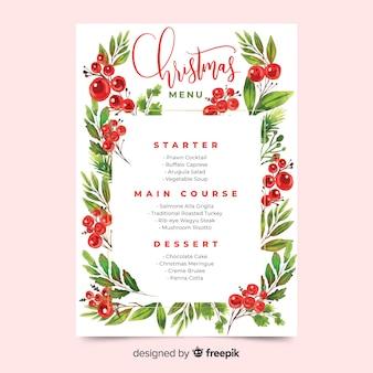 Plantilla de menú de navidad acuarela sobre fondo rosa