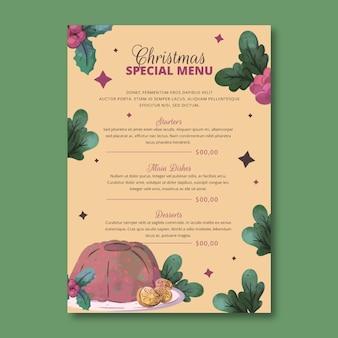 Plantilla de menú de navidad en acuarela