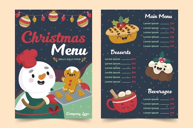 Plantilla de menú de navidad dibujada a mano