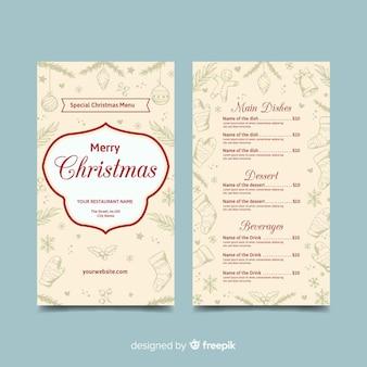 Plantilla de menú de navidad dibujado a mano color beige