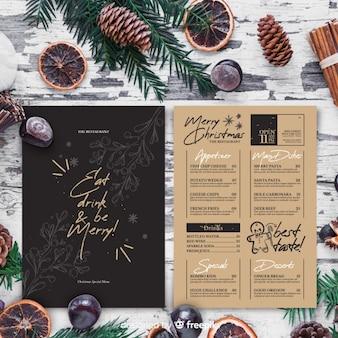 Plantilla de menú de navidad dibujado a mano