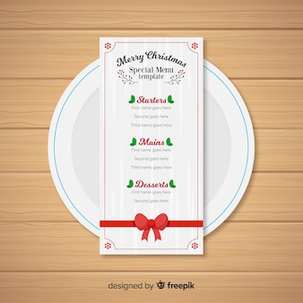 Plantilla de menú de navidad en diseño flat