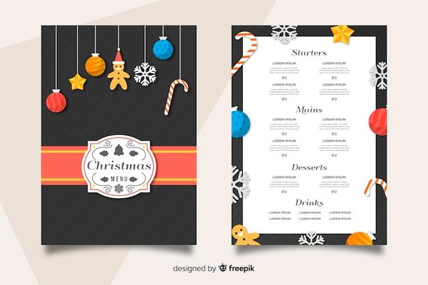Plantilla de menú de navidad en diseño plano
