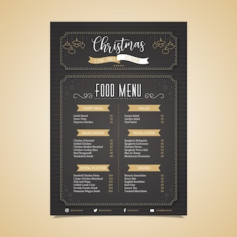 Plantilla de menú de navidad de diseño plano