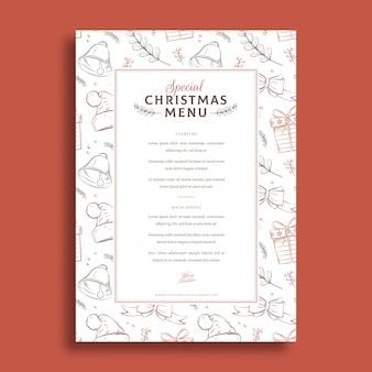 Plantilla de menú de navidad estilo dibujado a mano
