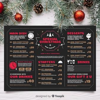 Plantilla de menú de navidad en estilo vintage