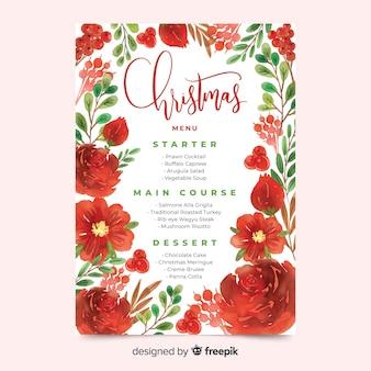 Plantilla de menú de navidad floral acuarela