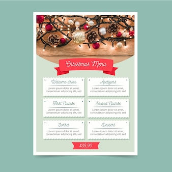 Plantilla de menú de navidad con foto