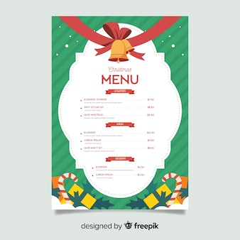 Plantilla de menú de navidad plana con cascabeles