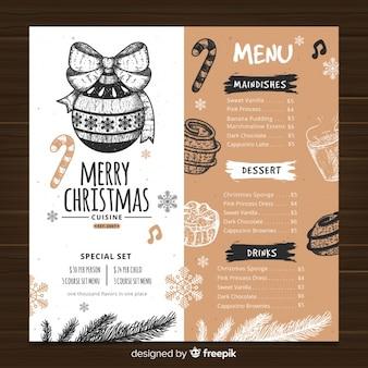 Plantilla de menu de navidad vintage