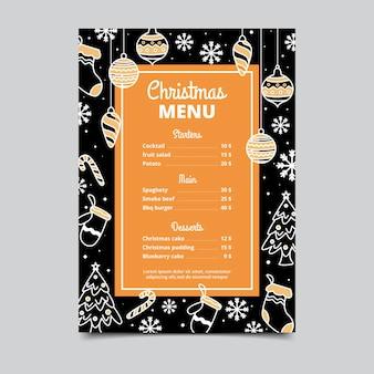 Plantilla de menú de navidad vintage
