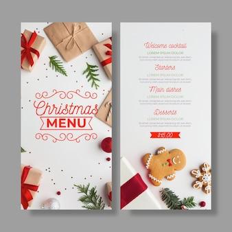 Plantilla de menú navideño con conjunto de fotos