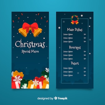 Plantilla de menú navideño con diseño plano