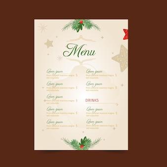 Plantilla de menú navideño festivo