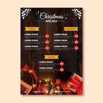 Plantilla de menú navideño con foto